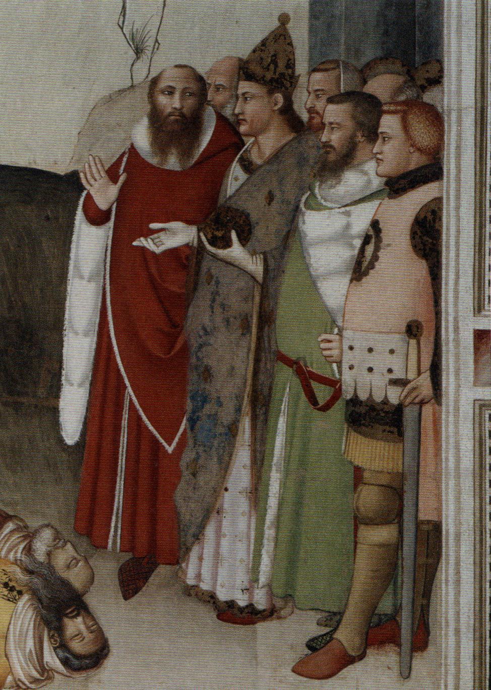 FOTO 3 - Maso di Bianco San Silvestro resuscita i maghi del 1340 circa: si notino le fodere di vaio dei due personaggi vestiti di rosso e verde. Foto tratta da